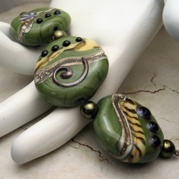 Handmade Lampwork Glass Bead Set - SRA - Olive Green Tabs - Now on Sale