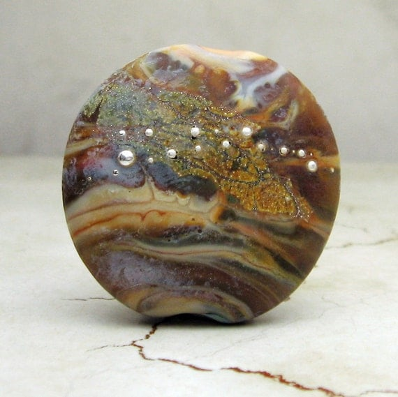Handmade Lampwork Glass Bead, SRA, Organic Lentil Focal Bead....Mahogany