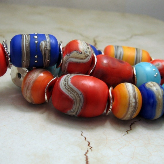 Handmade Lampwork Glass Beads,  Etched Organic Bead Set of 19 in Bright Colors, Orange, Blue, Turquoise, Italian Pottery