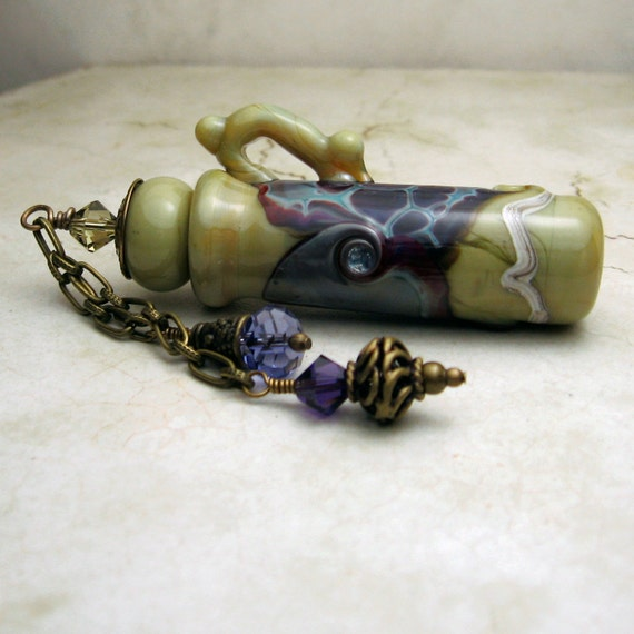 Green Lampwork Glass Vessel , Aromatherapy , Amphora Jar with Cork Lid , Perfume Jar  Purple Swarovski Crystals