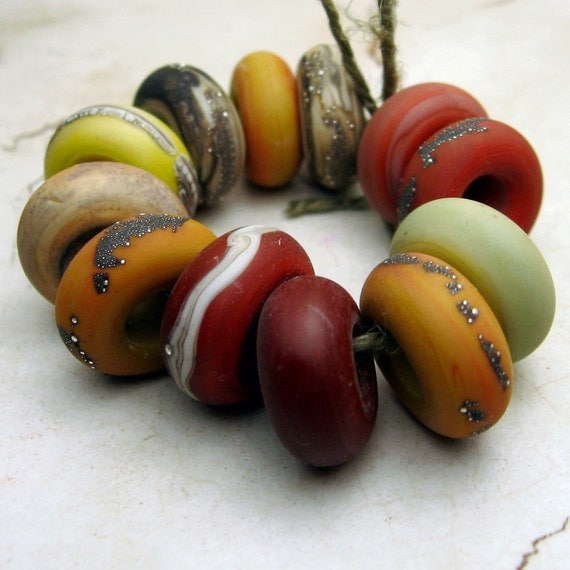 Lampwork Glass Beads Rustic Organic Slider Rings Etched Matte Jewelry Supply