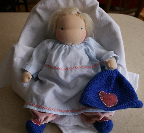 Waldorf Doll. Baby Doll.   READY TO SHIP. Blonde hair and blue eyes 14 Inches.