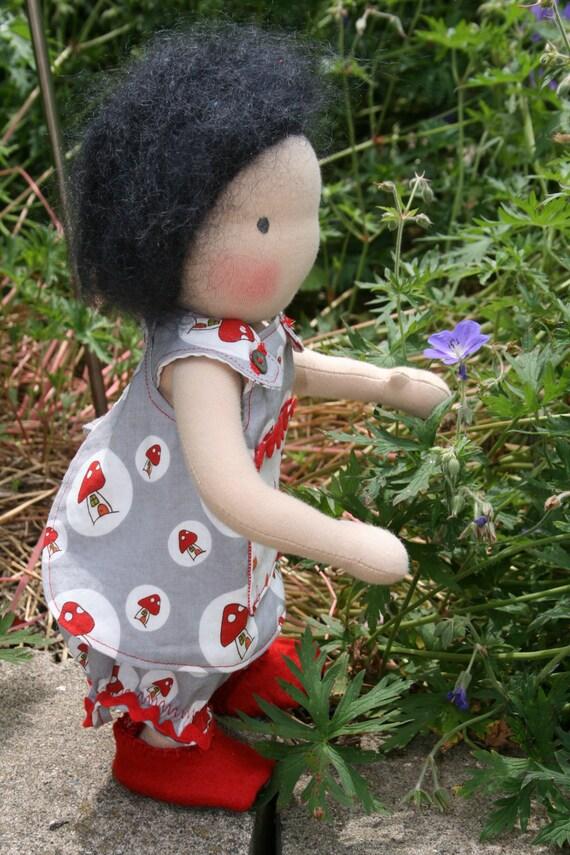 "Waldorf Doll 11.5"" Liesel.  Gnome, mushroom, reversible pocket pinafore  RESERVED FOR JENNNIFER"