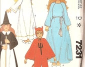 vintage Costume Pattern - McCalls 7231 - Angel, Princess, Devil, Witch - CHILDREN COSTUME - Sewing Pattern - Large (10-12) chest 28-30""