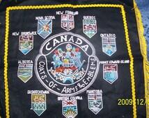 Vintage Canada Pillow Case Coats of Arms crests Emblems Nova Scotia New Foundland Quebec Saskatchewan BC Manitoba Prince Edward