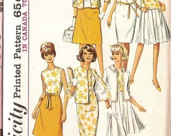 "sewing pattern Simplicity 5927  Dress Jacket skirt WARDROBE - size 10 bust 31"" vintage pattern"