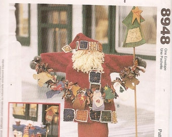 SNOWMAN Santa Banner sewing pattern doll birds stocking trees McCalls 8948 vintage fabrics Plum Creek