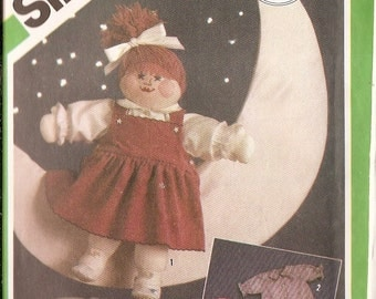 """Doll in MOONbeam sewing pattern Simplicity 6612 VINTAGE 20 inch Doll Moonbeam Girl Doll 20"""" tall doll clothes, doll booties big doll pattern"""