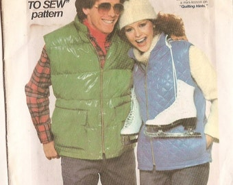 Vest sewing pattern men misses teens Simplicity Pattern 8123 X SMALL