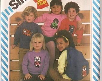 Transfers Shirt appliques Simplicity 6052 HALLMARK Shirt Tales animals racoon chimp beaver tiger Panda  characters printed 1980's
