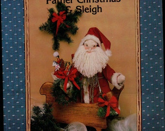 Father CHRISTMAS & Sleigh sewing pattern decor arts crafts vintage pattern, wall hanging Santa Sleigh Holiday Decoration Craft pattern