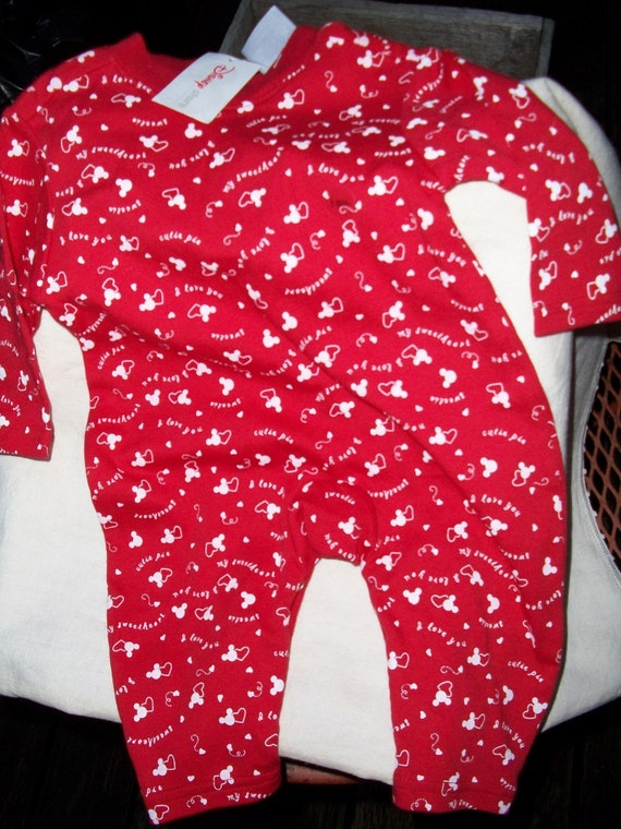 BABY cotton 3 Mos Disney Hearty cotton knit jersey material One piece snap up onsie