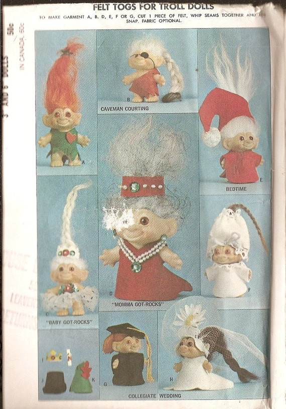 Troll Doll Outfits Sewing Pattern Mccalls 7589 By