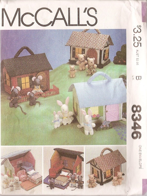 Vintage Sewing Pattern McCalls 8346 Miniature House, furniture Rabbits Bears Mouse families