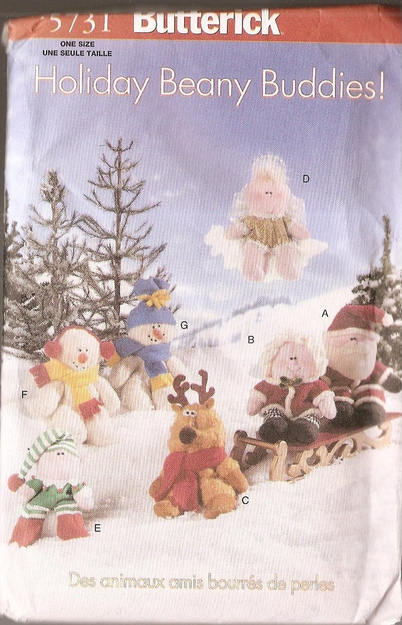 craft sewing pattern Butterick 5731 angel reindeer snowman santa Holiday stuffed toys dolls 8 inch tall toy, doll,