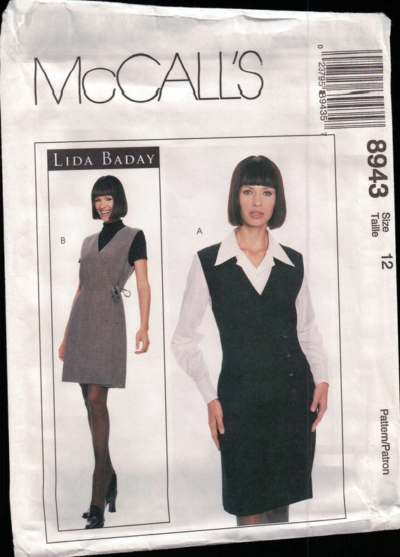 "McCalls 8943 Jumper dress blouse size 12, bust 34"" Sewing Pattern Designer Lida  Baday"