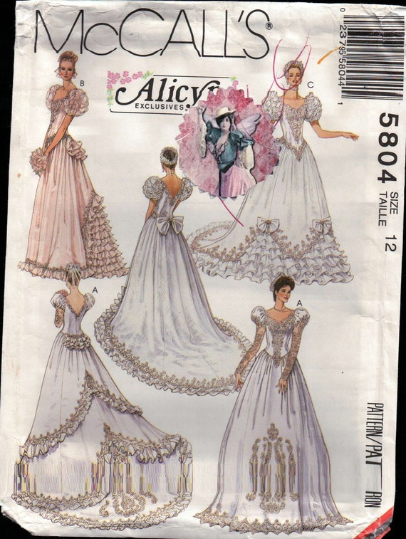 Wedding gown pattern designer mccalls 5804 by nancesnostalgia for Wedding dress patterns mccalls