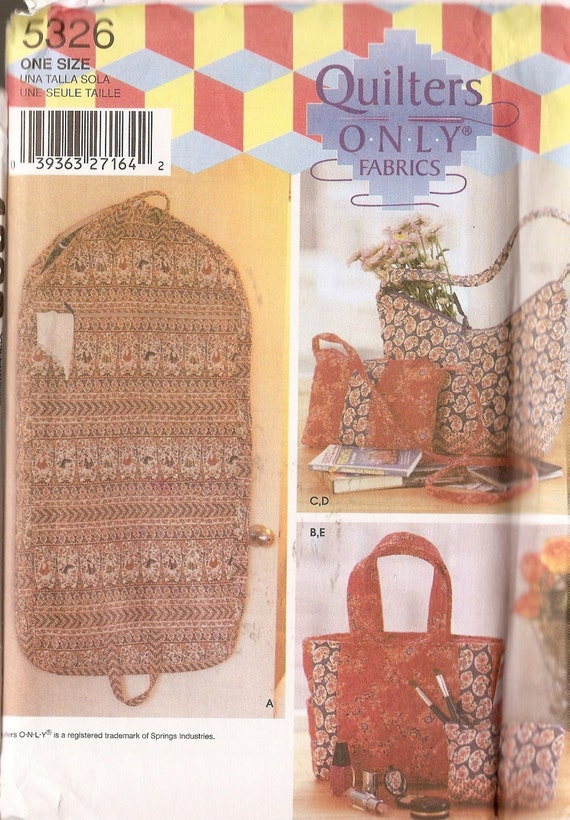 Simplicity pattern 5326 quilters tote bag garment bag shoulder bag