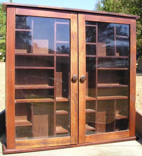 Wood shadow box wooden display case curio curiosities craft