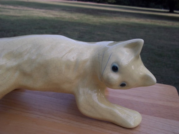 Camark Tree Climbing Cat Yellow Art Pottery Right Facing