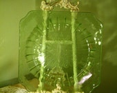 Vintage Green Glass Plate