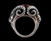925 Solid Sterling Silver Bighorn Baphomet Evil Sabbatic Goat Ring w/ Red Garnet- ALL SIZES