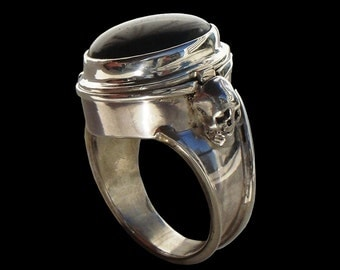925 Solid Sterling Silver Poison Pillbox skull ring with black Onyx or Amethyst- ALL SIZES