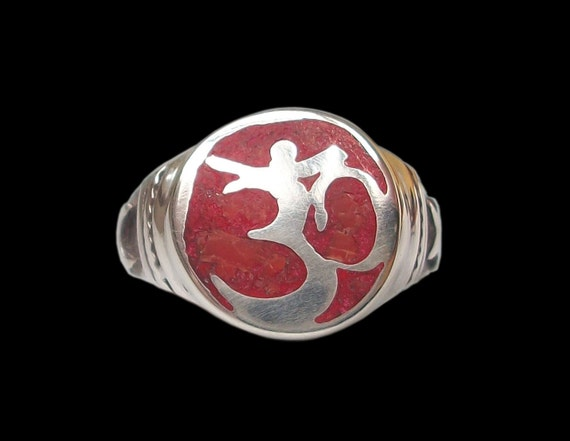 Sterling Silver Aum Ohm OM ring with red Coral - All sizes - Mantra Sound of Existence