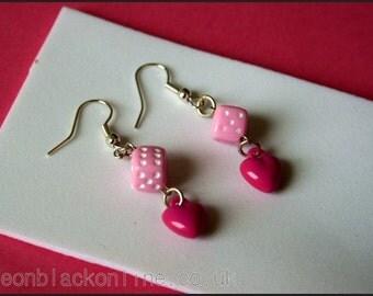 Earrings - Pink heart and dice earrings