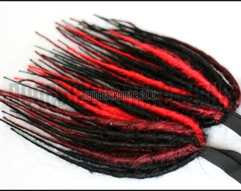 Synthetic dread falls - Red and black dreadlock falls - shoulder length - Made to order