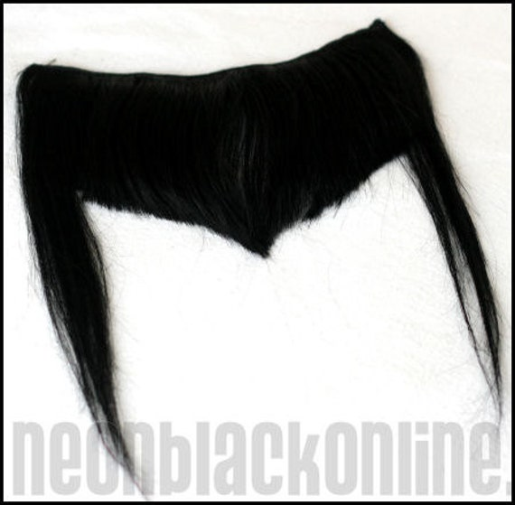 shaped Clip in bangs\/fringe -Black - Human hair extension