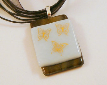 Butterfly Party Glass Pendant