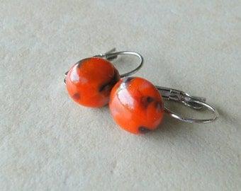 Orange Multi Coloured Leverback Earrings