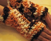 handmade fingerless gloves in colors of timber (wrist size-small)