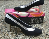 Vintage 1960s Heels By Jenay's - Black and Silver Pumps With Rhinestone Accent - Size 6 1/2
