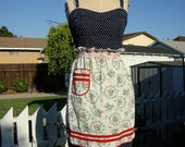 Vintage 1950s White And Red Rose Smocked Half Apron - Home Made