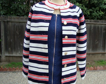 Vintage 1960s Red, White And Blue Striped Nautical Cardigan Sweater- Size Large