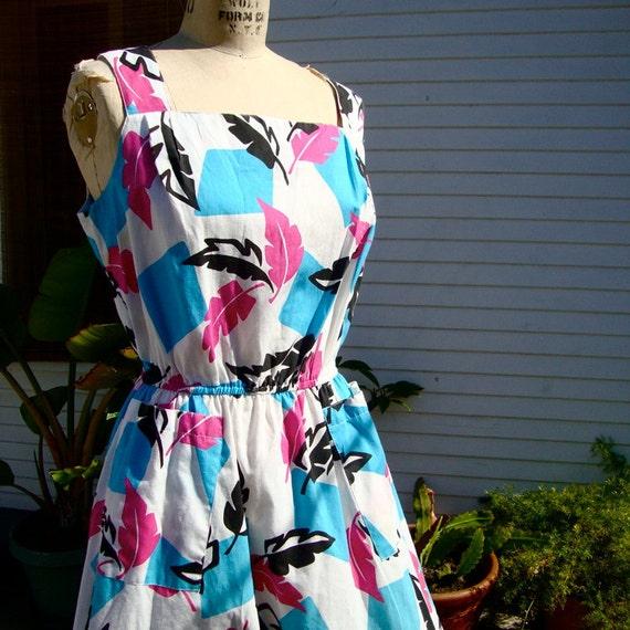 Vintage 1980's Print Summer Dress - Pink - Black - Teal - Large / XLarge
