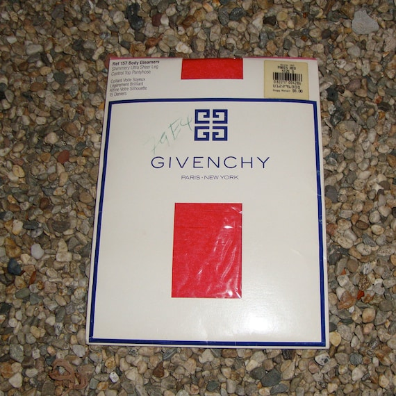 Vintage 1980s Givenchy Paris Red  Ultra Sheer Vintage Dead Stock Nylons - New In Package - XLarge