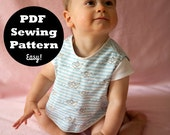 PDF Sewing Pattern - Baby Bib - Retro pinafore look 6 M