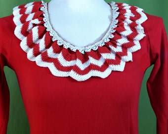 Handmade red and white knit dress
