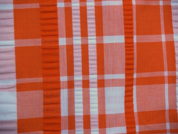 VTG fabric: orange seersucker plaid