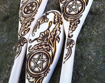Cottage Witch Spoon Set in Pyrography - Made to Order