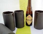 set of 4 leather look beer mugs