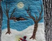 Owl Moon - Felted Wool Wall Hanging (CUSTOM)