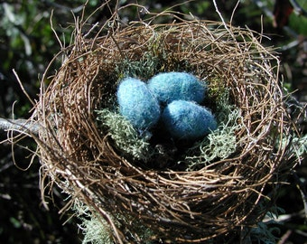 Handmade Birds Nest With Felted Wool Eggs