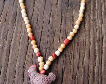 Little Brown Hen Necklace