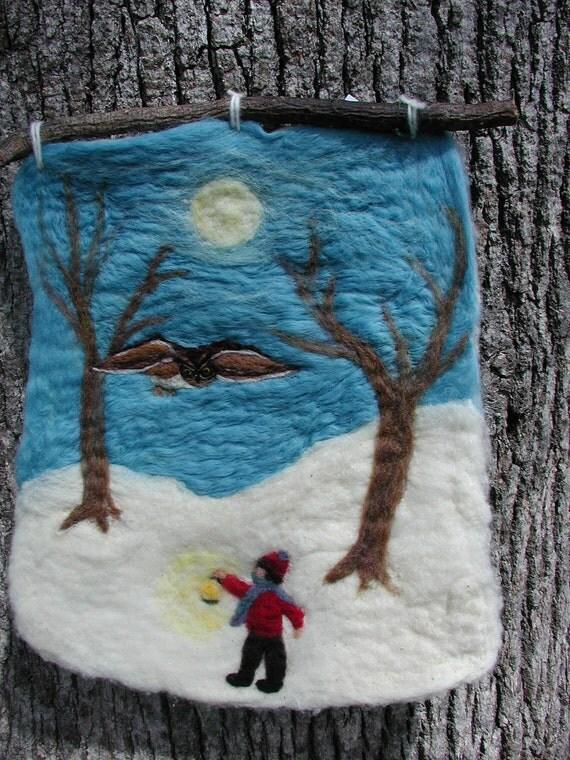 Owl Moon - felted wool wall hanging