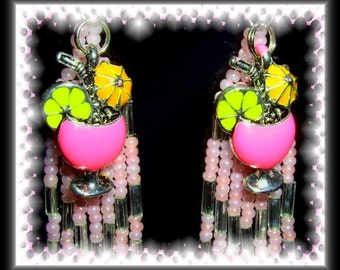 Let's Get Tropical - Pink beaded Tropical Drink Charm Earrings