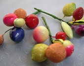 Vintage Miniature Spun Cotton Fruit on Stems Vintage Valentine's Day Package Decoractions